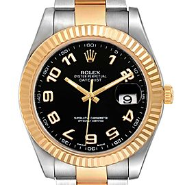 Rolex Datejust II Steel Yellow Gold Black Dial Mens Watch 116333 Box Card