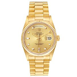 Rolex President Day-Date 18k Yellow Gold Diamond Mens Watch