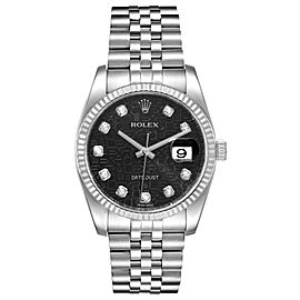 Rolex Datejust Steel White Gold Jubilee Diamond Dial Mens Watch