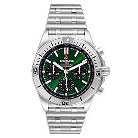 Breitling Chronomat B01 Green Dial Steel Mens Watch AB0134 Box Card