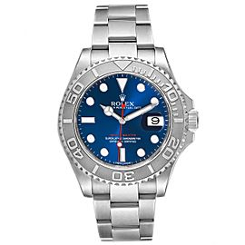 Rolex Yachtmaster Stainless Steel Platinum Blue Dial Mens Watch