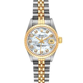 Rolex Datejust Steel Yellow Gold MOP Diamond Dial Ladies Watch 69173