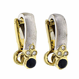 Two-Tone Textured Earrings 18k Gold Sapphire Diamond