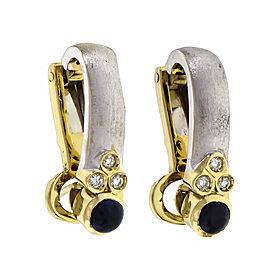 Two-Tone Textured Earrings 18k Gold Sapphire Diamond