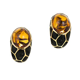 Vintage 18k Gold 20.0ct Citrine Black Enamel Italian Curved Clip & Post Earrings