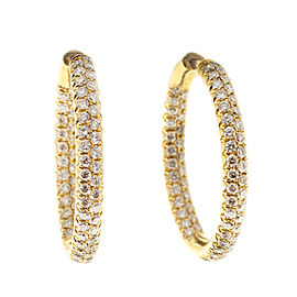 18K Yellow Gold 2.75ct Diamond Hoop Earrings