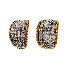 Vintage 14k Yellow Gold 14 K White Gold 2.25ctw Diamond Domed Curved Earrings