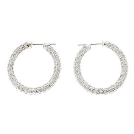 14K White Gold 4.20ct Diamond Link Hoop Earrings