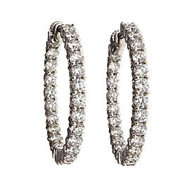 18K White Gold 4.00ct Diamond Hoop Earrings