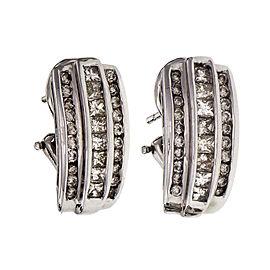 Estate Princess Cut Round Diamond Earrings Channel Set 14k Gold
