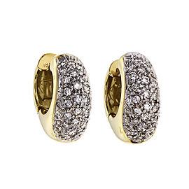 Estate Diamond Huggie Hoop Earrings 18k Gold