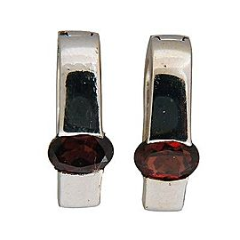 Vintage Deep Reddish Brown .80CT Oval Garnet 14k White Gold 15mm Hoop Earrings