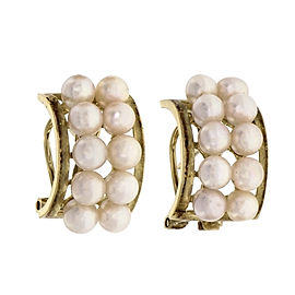 Estate 2 Row Cultured Pearl Earrings 14k Yellow Gold