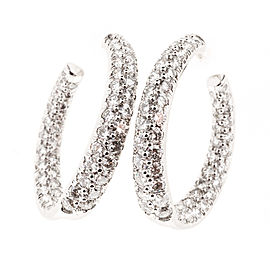 Platinum with 3.50ct Diamond Swirl Hoop Earrings