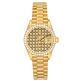 Rolex President Datejust Yellow Gold Honeycomb Diamond Watch