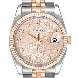 Rolex Datejust 36mm Dial Steel Rose Gold Diamond Unisex Watch