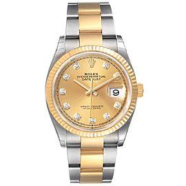Rolex Datejust Steel Yellow Gold Diamond Dial Mens Watch