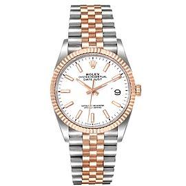 Rolex Datejust 36 Steel EveRose Gold White Dial Mens Watch