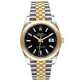 Rolex Datejust 41 Steel Yellow Gold Black Dial Mens Watch