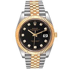 Rolex Datejust 41 Steel Yellow Gold Black Diamond Dial Watch