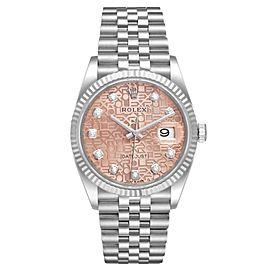 Rolex Datejust Steel White Gold Pink Dial Diamond Watch