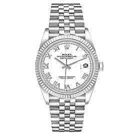 Rolex Datejust Steel White Gold White Roman Dial Mens Watch