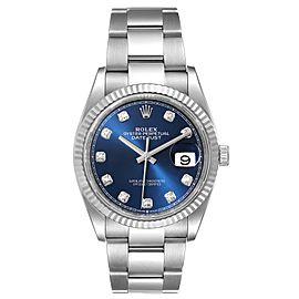 Rolex Datejust Steel White Gold Blue Diamond Dial Mens Watch