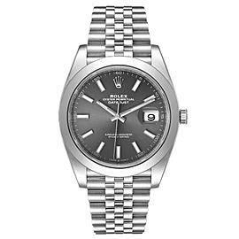 Rolex Datejust 41 Grey Dial Domed Bezel Steel Mens Watch