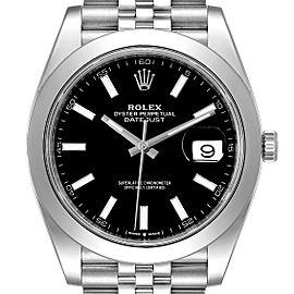 Rolex Datejust 41 Black Dial Smooth Bezel Steel Mens Watch