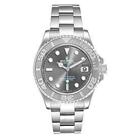 Rolex Yachtmaster 37 Midsize Steel Platinum Mens Watch