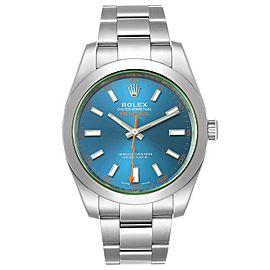 Rolex Milgauss Blue Dial Green Crystal Steel Mens Watch