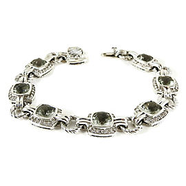 David Yurman Sterling Silver .70tcw Prasiolite Diamond Linked Renaissance Bracelet