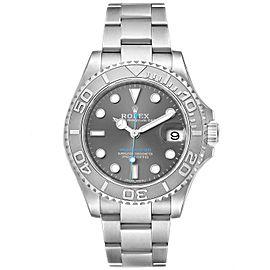 Rolex Yachtmaster 37 Midsize Steel Platinum Mens Watch 268622 Box Card