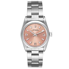 Rolex Midsize Salmon Dial Domed Bezel Steel Ladies Watch