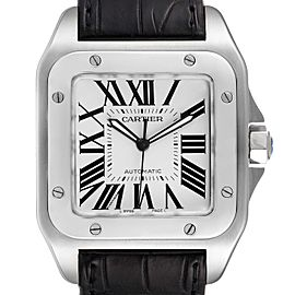 Cartier Santos 100 Silver Dial Black Strap Steel Watch W20073X8