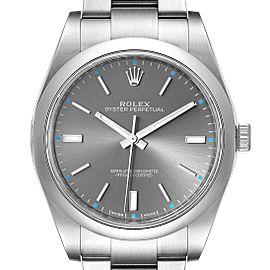 Rolex Oyster Perpetual 39 Rhodium Dial Steel Mens Watch 114300 Box Card