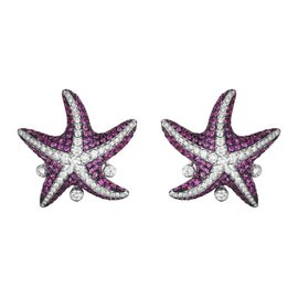 18K White Gold with Sapphire and Diamond Starfish Earrings