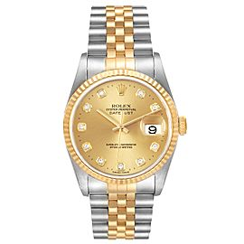 Rolex Datejust Steel Yellow Gold Champagne Diamond Dial Watch 16233 Box Papers