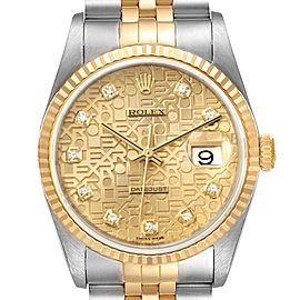 Rolex Datejust Steel Yellow Gold Jubilee Diamond Dial Watch 16233 Box Card