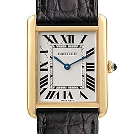 Cartier Tank Solo Yellow Gold Steel Black Strap Large Mens Watch W5200004