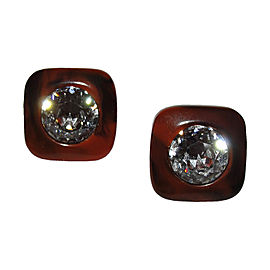 Lanvin Brown Swirl Bakelite Headlight Rhinestone Earrings