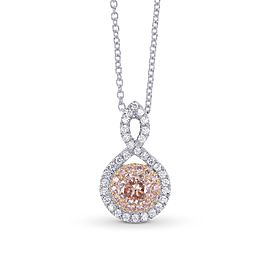 Leibish 18K Rose and White Gold with 0.48ctw Diamond Double Halo Crossover Pendant Necklace