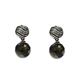 David Yurman Hematite Sterling Silver Ball Drop Earrings