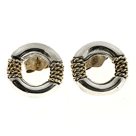 Vintage Tiffany & Co Sterling & 14k Twisted Rope Round Circle Stud Earrings