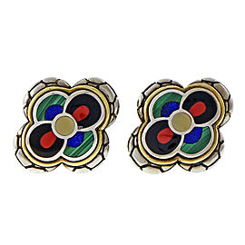 Asch Grossbardt 18K Yellow Gold and Sterling Silver Coral Lapis Malachite Earrings