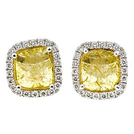 18K White Gold Yellow Cushion Diamond Earrings