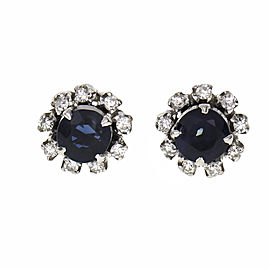 Vintage 1950 Sapphire Earrings 14k White Gold Halo