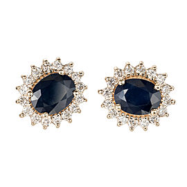 Sapphire Oval 4.50ct Halo Earrings Diamond 14k Yellow Gold