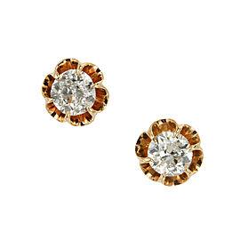 14K Rose Gold and Platinum 0.75ct Diamond Stud Earrings