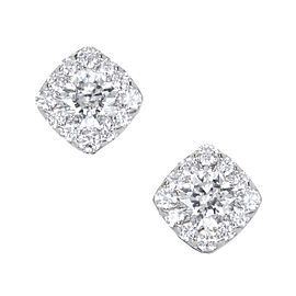 Hearts On Fire 18K White Gold 1.10ct Diamond Halo Cushion Earrings